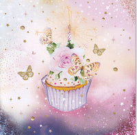 Cupcake And Butterfly Glitter Birthday Card - Nigel Quiney