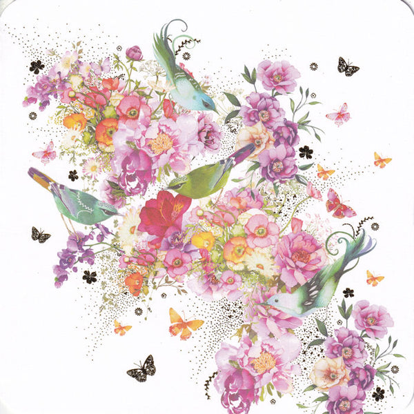 Pretty Birds And Flowers Greetings Card - Nigel Quiney
