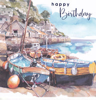 Fishing Boat Scene Happy Birthday Card - Nigel Quiney