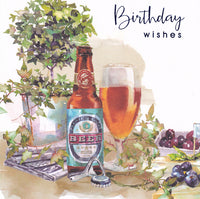 Bottled Beer Birthday Wishes Card - Nigel Quiney