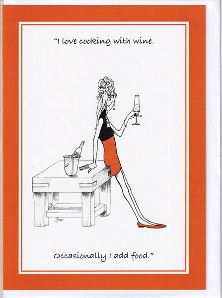 I Love Cooking With Wine Greetings Card