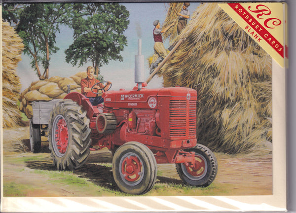 McCormick Tractor Working The Hay Greetings Card - Trevor Mitchell