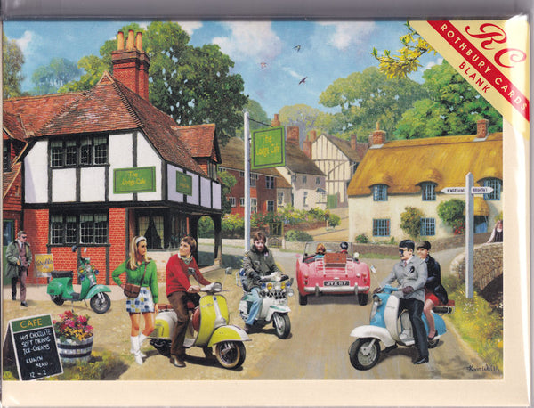 Mods On The Road Greetings Card - Kevin Walsh