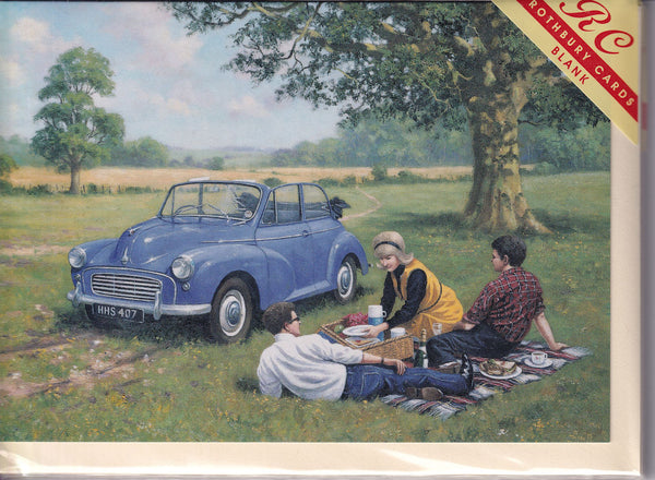 Morris Minor Picnic Greetings Card - Kevin Walsh
