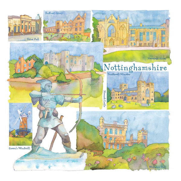 Nottinghamshire Watercolour Greetings Card - Emma Ball