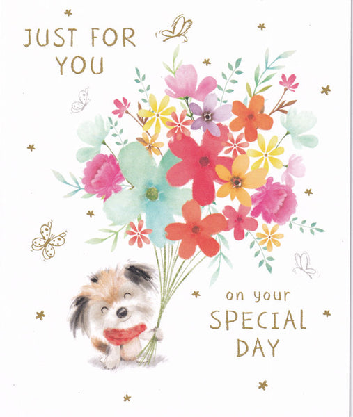 Cute Dog And Bouquet Of Flowers Happy Birthday Card - Nigel Quiney