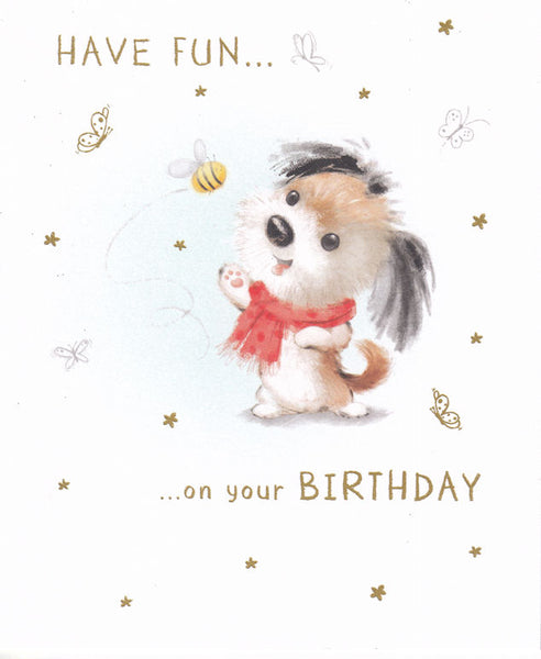 Cute Dog And Bumblebee Birthday Card - Nigel Quiney