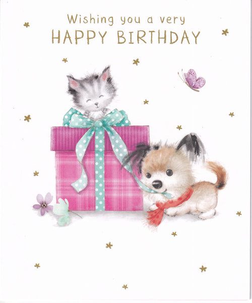 Cute Dog And Kitten With Present Happy Birthday Card - Nigel Quiney
