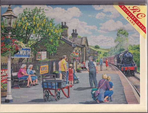Oakworth Yorkshire Train Station Greetings Card - Trevor Mitchell