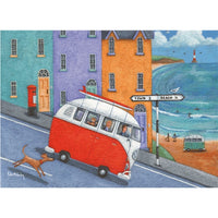Off To The Beach In A VW Campervan Greetings Card - Peter Adderley