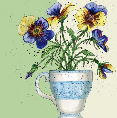 Pansy Flowers Greetings Card - Caroline Cleave