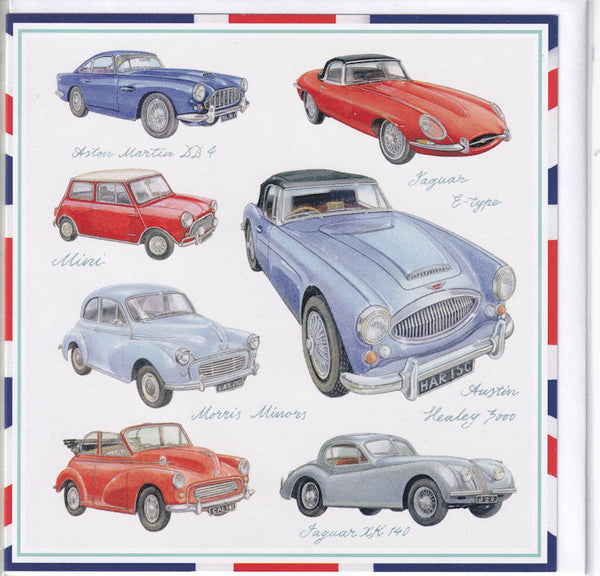 Great British Classic Cars Greetings Card - Richard Partis