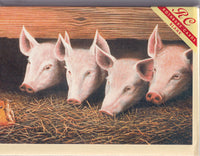 Four Pigs Feeding Greetings Card - David J. Lawrence