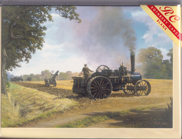 Ploughing A Field By Steam Greetings Card  - Malcolm Root