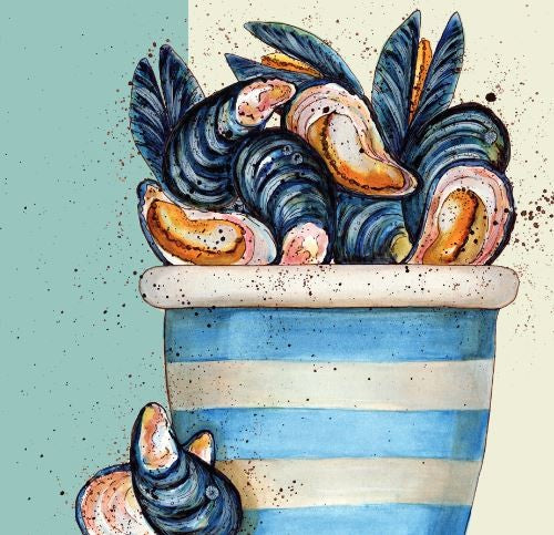 Pot Of Mussels Greetings Card - Caroline Cleave