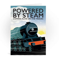 Powered By Steam Train Greetings Card - Tabitha Mary