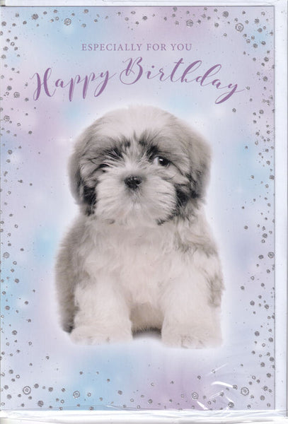 Puppy Dog Especially For You Happy Birthday Glitter Card