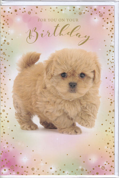 Puppy Dog For You On Your Birthday Glitter Card