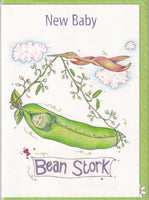 New Baby Bean Stork Greetings Card - The Compost Heap