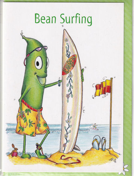Bean Surfing Surfboard Greetings Card - The Compost Heap