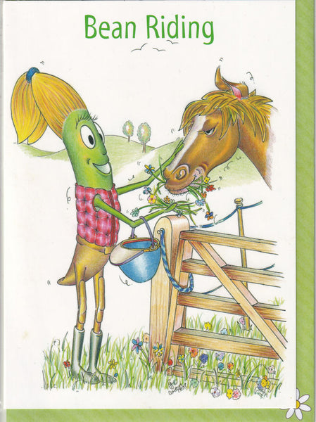 Bean Riding Greetings Card - The Compost Heap