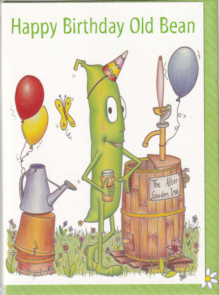 Happy Birthday Old Bean Beer Garden Birthday Card - The Compost Heap