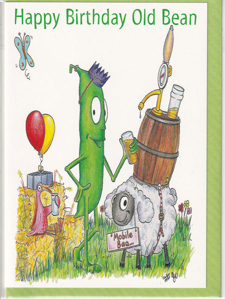 Happy Birthday Old Bean Birthday Card - The Compost Heap