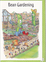 Bean Gardening Whimsical Greetings Card - The Compost Heap