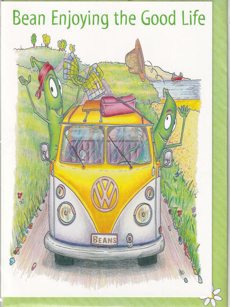 Bean Enjoying The Good Life VW Campervan Greetings Card - The Compost Heap