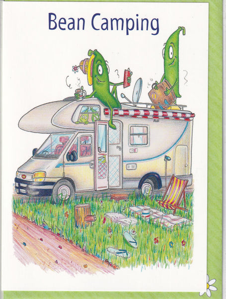 Bean Camping Greetings Card - The Compost Heap