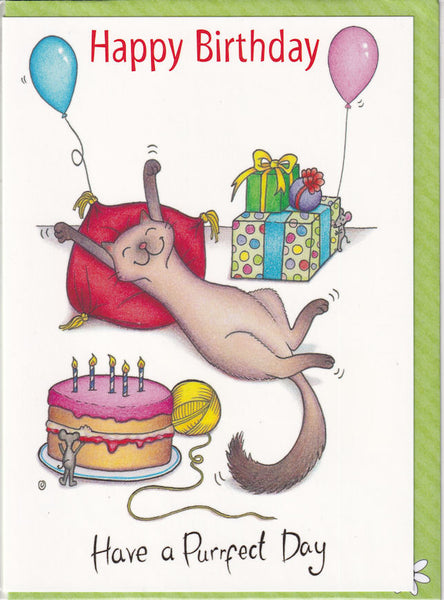 Happy Birthday Have A Purrfect Day Cat Birthday Card - The Compost Heap