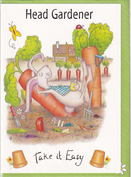 Head Gardener Take It Easy Greetings Card - The Compost Heap