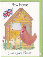 New Home Cluckingham Palace Hens Greetings Card - The Compost Heap