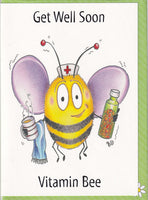 Get Well Soon Vitamin Bee Greetings Card - The Compost Heap