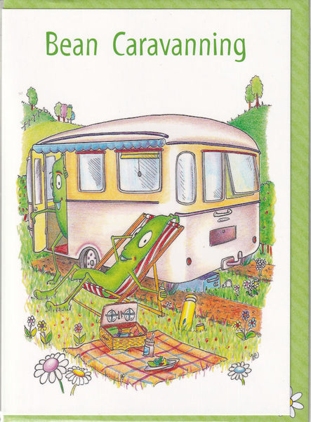 Bean Caravanning Greetings Card - The Compost Heap