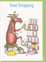 Shoe Shopping Horse Greetings Card - The Compost Heap