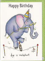 Happy Birthday Age Is Irrelephant Elephant Birthday Card - The Compost Heap