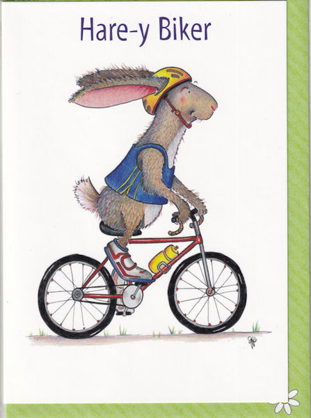 Hare-y Biker Greetings Card - The Compost Heap