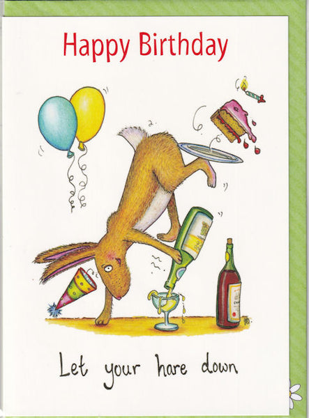Happy Birthday Let Your Hare Down Birthday Card - The Compost Heap