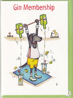 Gin Membership Gym Greetings Card - The Compost Heap