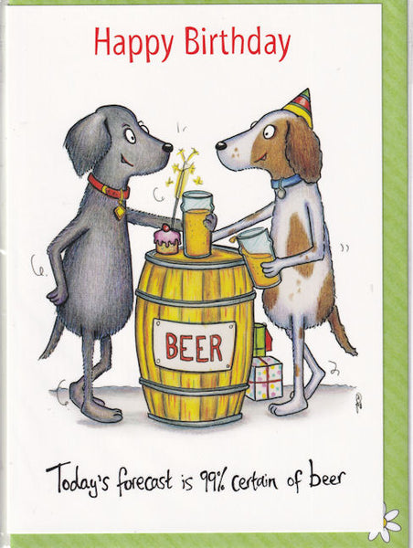 Happy Birthday Today Is 99% Certain Of Beer Birthday Card - The Compost Heap