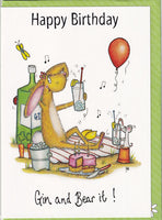 Happy Birthday Gin And Bear It! Birthday Card - The Compost Heap