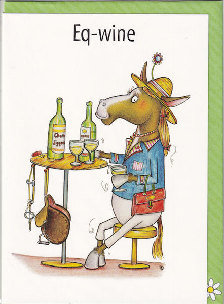 Eq-wine Equine Horse Wine Greetings Card - The Compost Heap