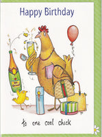 Happy Birthday To One Cool Chick Hen Birthday Card - The Compost Heap