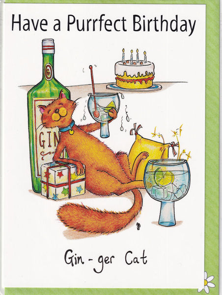 Gin-ger Cat Have A Purrfect Birthday Card - The Compost Heap