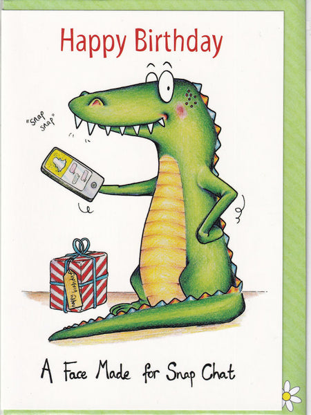 Happy Birthday Crocodile Face Made For Snap Chat Birthday Card - The Compost Heap