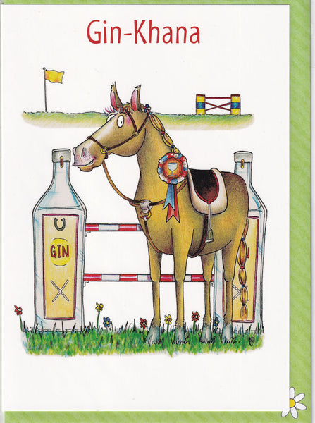 Gin-Khana Gin Horse Greetings Card - The Compost Heap