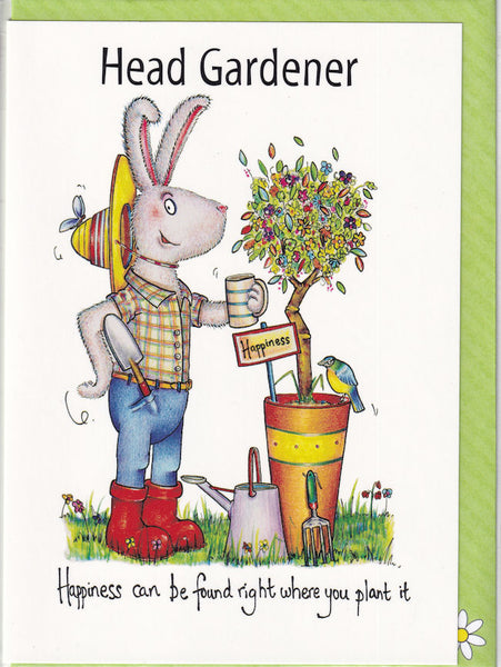 Head Gardener Happiness Greetings Card - The Compost Heap