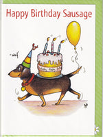 Happy Birthday Sausage Dachshund Dog Birthday Card - The Compost Heap
