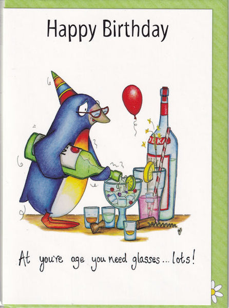 Happy Birthday At You're Age You Need Glasses...Lots! Birthday Card - The Compost Heap
